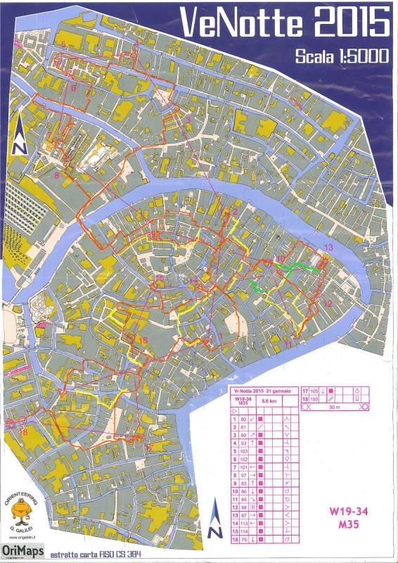 Presunto percorso ottimale del tracciato WA della gara di orienteering VeNotte 2015
