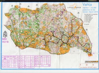 Carta da orienteering di Vahta: Lipica Open 2015, stage 2 (WB)