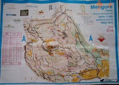 La cartina della categoria WB della gara di orienteering di Mengore del 28.05.2016