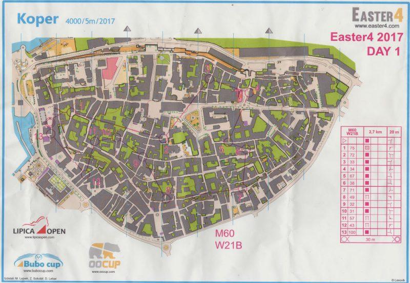 Orienteering, Koper 17 aprile